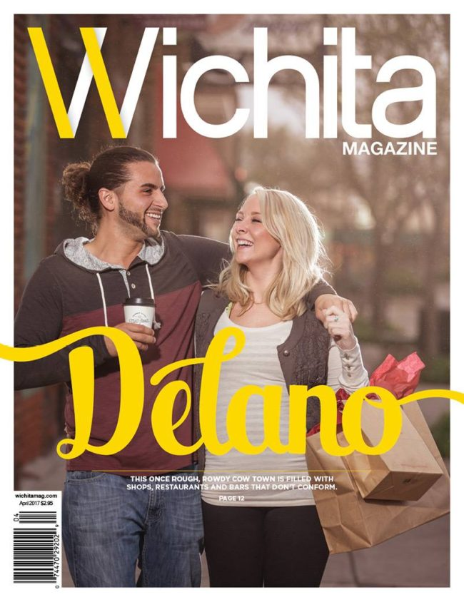 Models with items from Delano area stores on Wichita Magazine cover