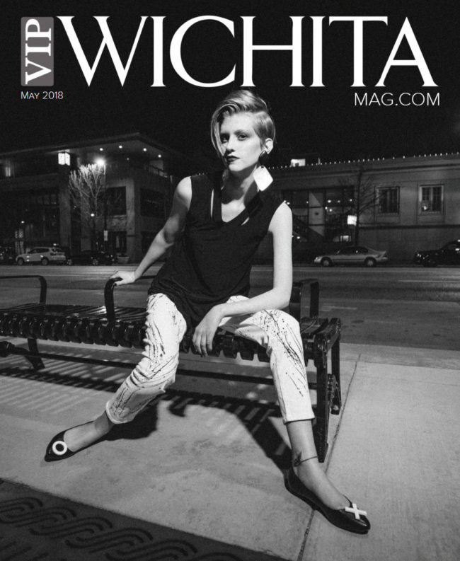 Eden Carter of Models and Images on VIP Wichita black and white cover