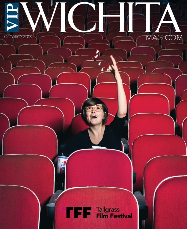 Tallgrass Film Festival cover for VIP Wichita with Gray Brand throwing popcorn