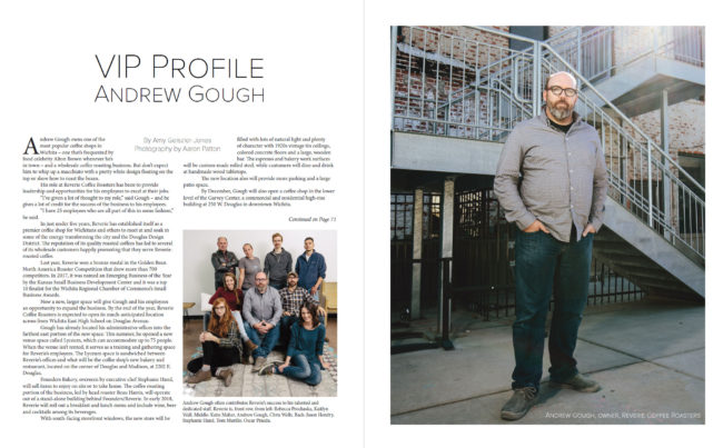 VIP Wichita article on Andrew Gough of Reverie Roasters