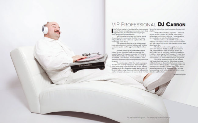 DJ Carbon in all white for VIP Wichita Magazine