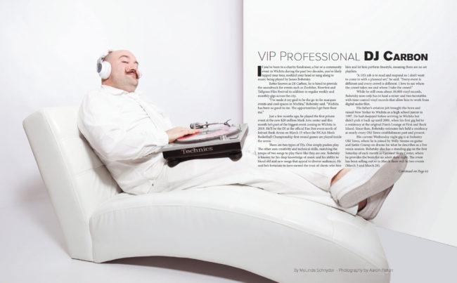 DJ Carbon in all white for VIP Wichita Magazine