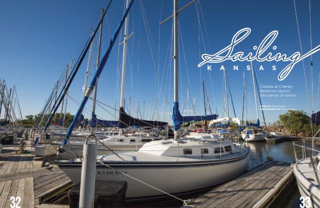 Sailboats docked at the marina at Cheney Reservoir