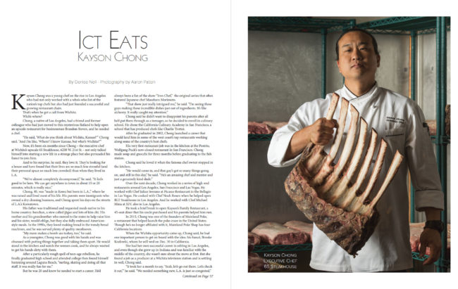 6S Steakhouse chef Kayson Chong holding a rack of steaks