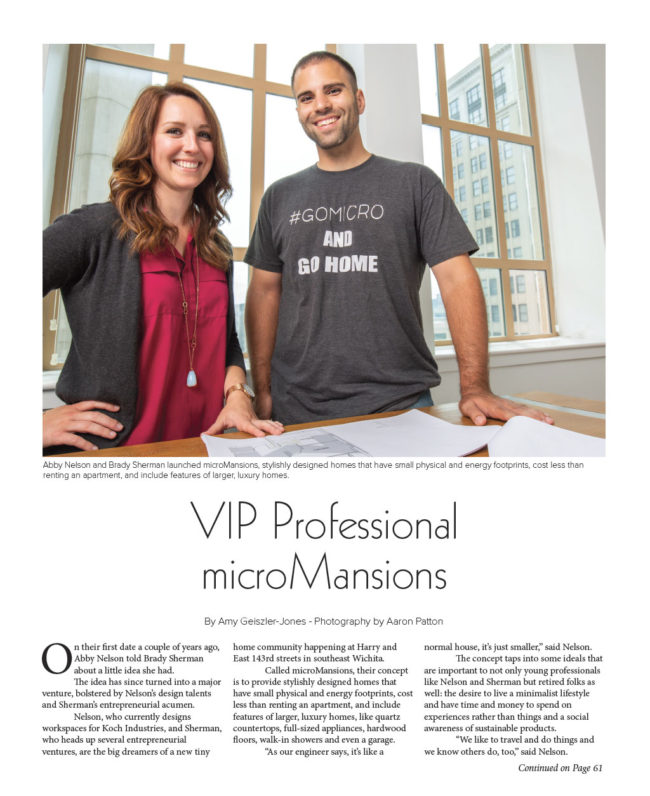 microMansions owners Abby Nelson and Brady Sherman with blueprints