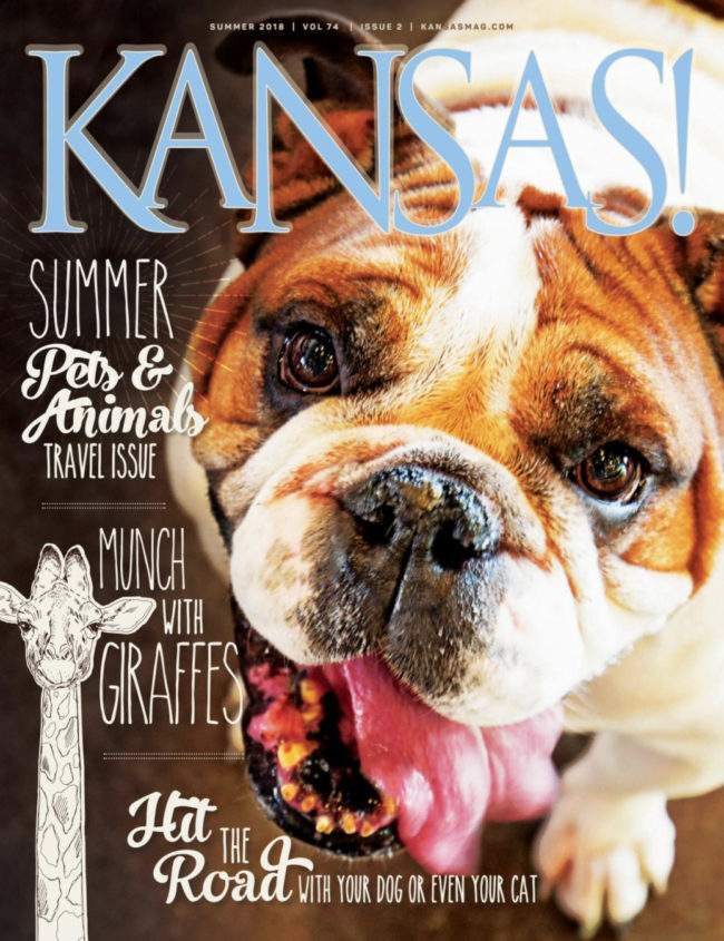 Red the Bulldog on the cover of Kansas! Magazine