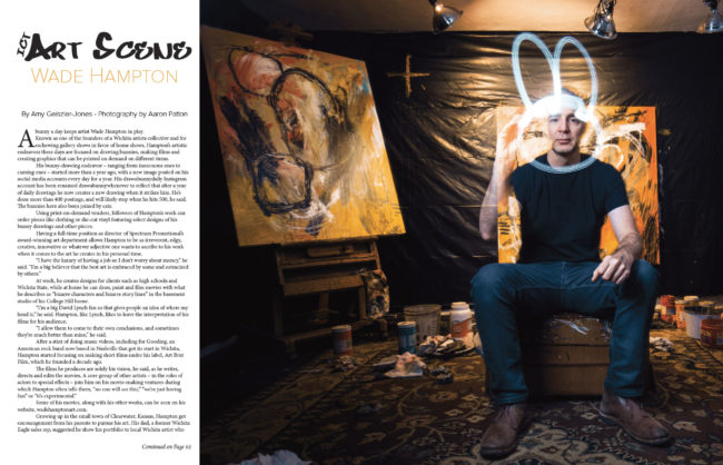 Wichita artist Wade Hampton drawing a bunny with light