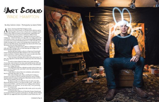 Wichita artist Wade Hampton drawing a bunny with light