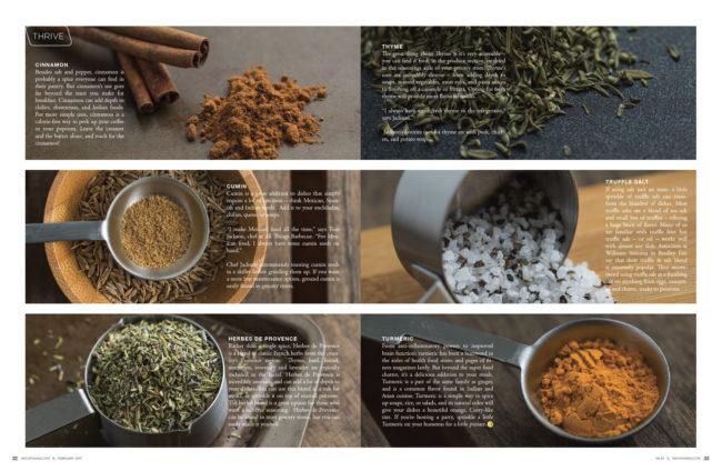 Cinnamon, Cumin, Herbes de Provence, Thyme, Truffle Salt, and Turmeric