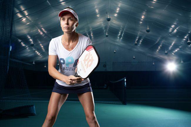 Lucy Kovalova wearing Professional Pickleball Association t-shirt