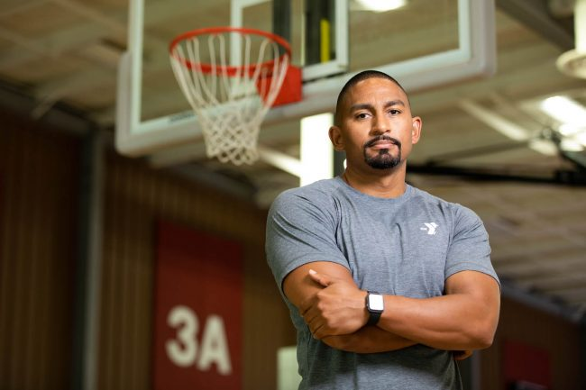 Portrait of Terrell Benton on the basketball court for Y360